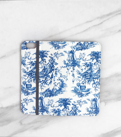 Blue Toile Wallet for iPhone full view