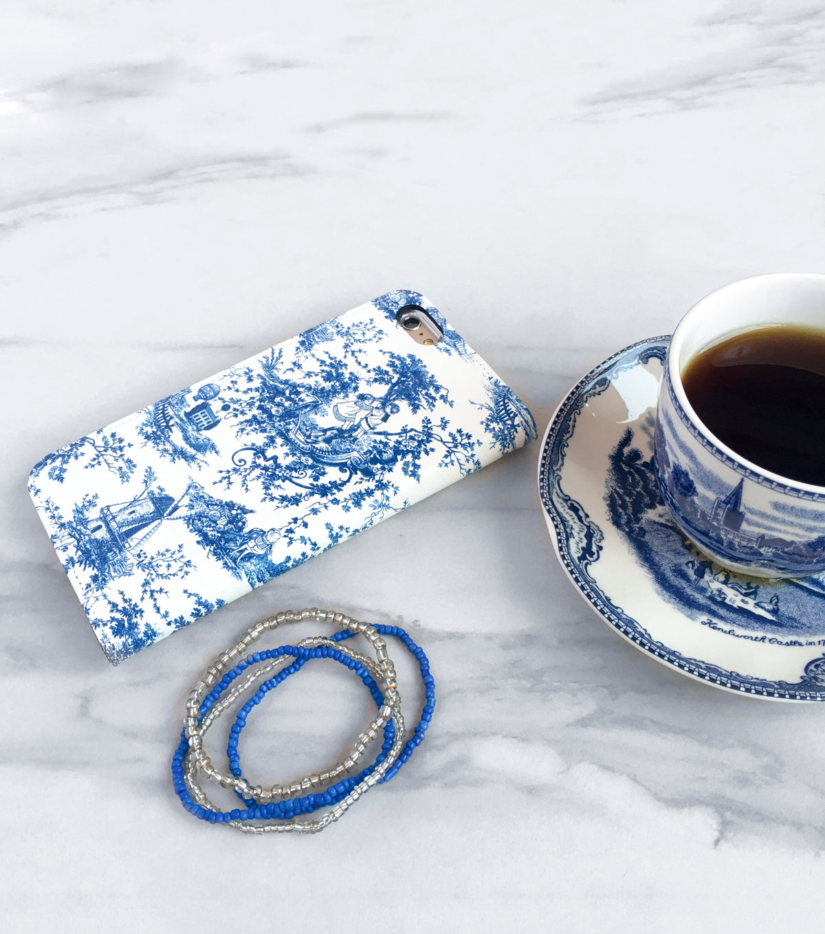 Blue Toile Wallet case side view