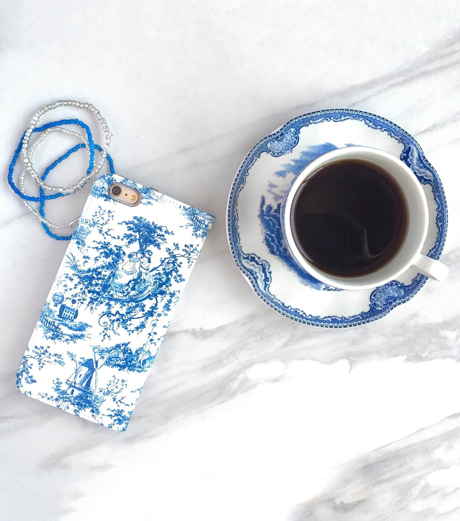 Blue Toile Wallet case for iPhone with coffee