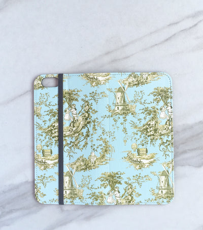 French Country Toile Wallet case for iPhone full view