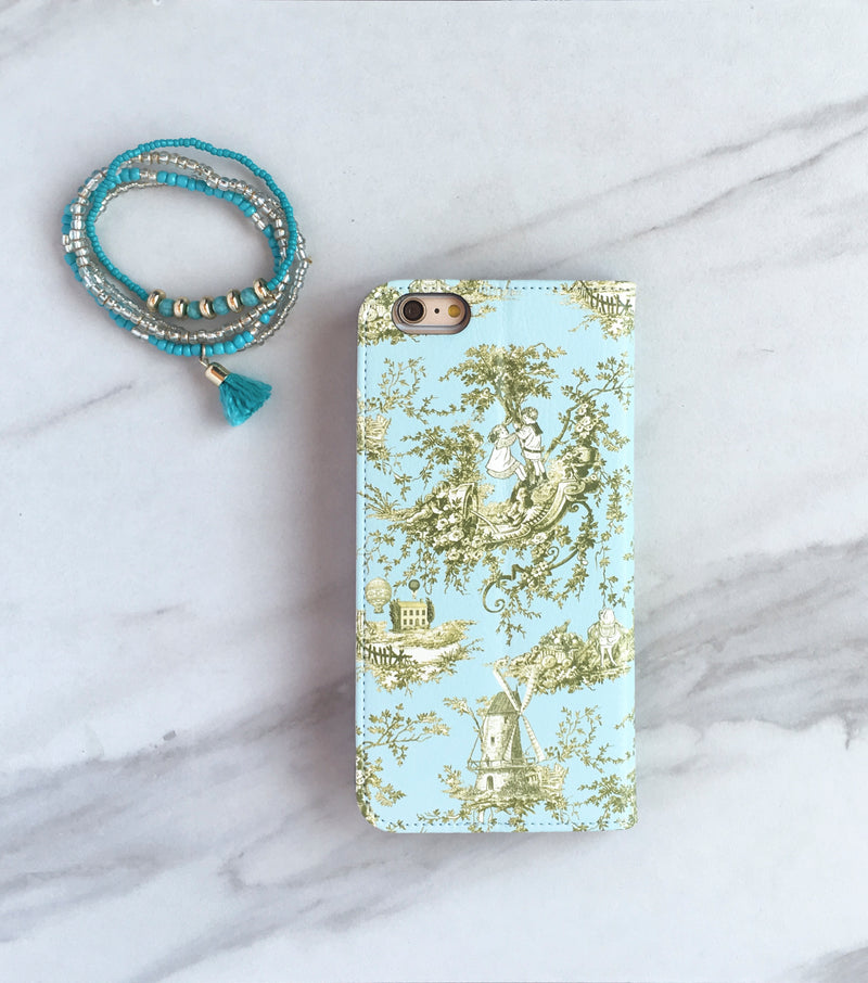 French Country Toile Wallet case for iPhone with strap