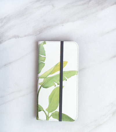 Tropical Leaf Banana Wallet case for iPhone with strap
