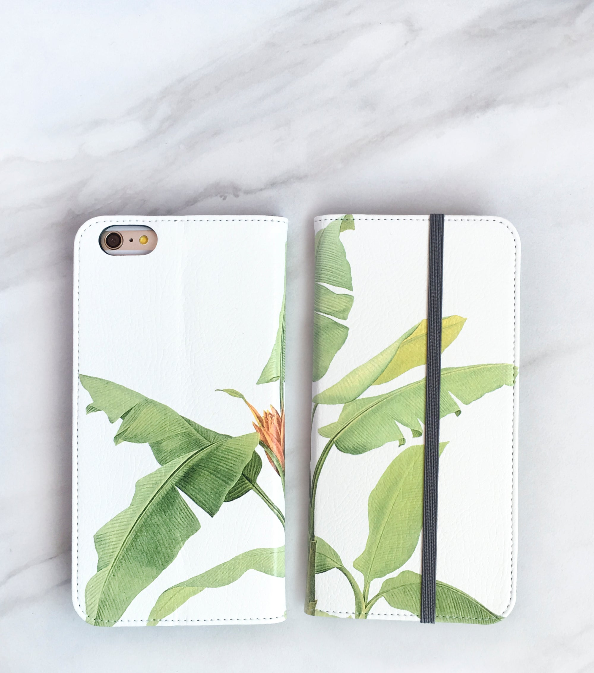 Tropical Leaf Wallet case for iPhone front and back
