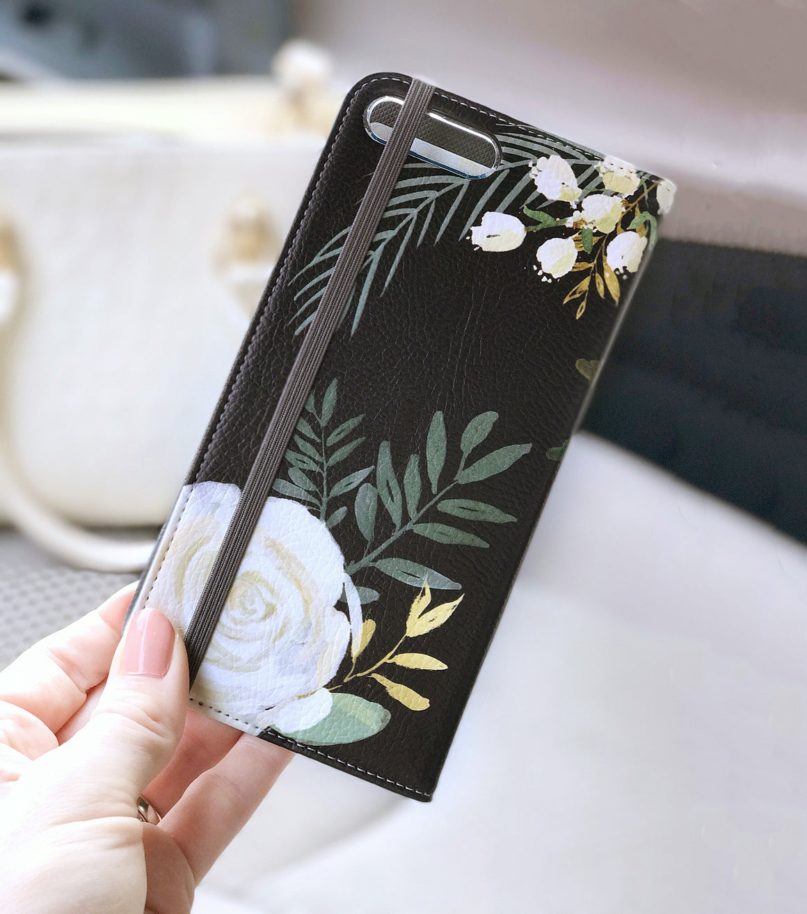 Watercolor Roses Wallet case for iPhone front and back