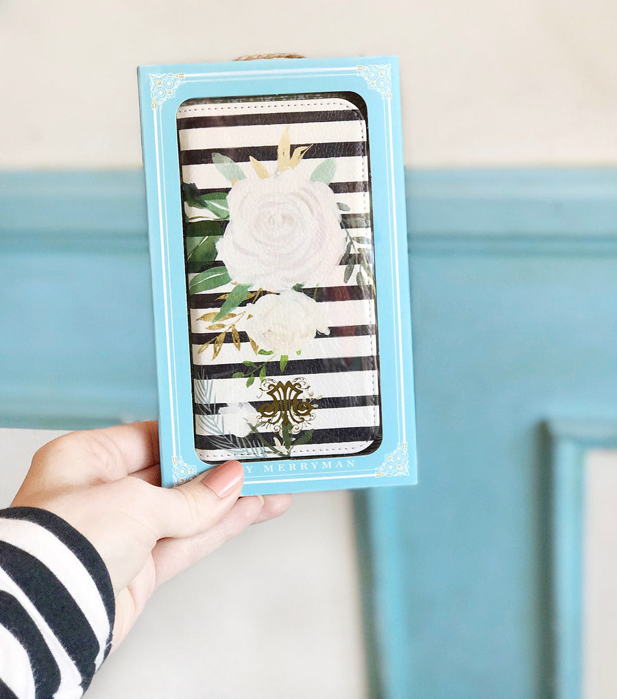 Watercolor Floral Stripes Wallet case for iPhone front and back