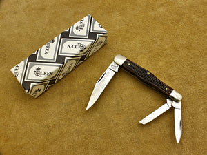 BKC 1987 Club Knife - Queen Winterbottom Bone 3- Blade Whittler