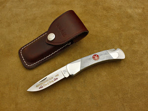 BKC 1994 Club Knife - Buck 500 Duke Grey Bone Folding LockBack Hunter w/Sheath