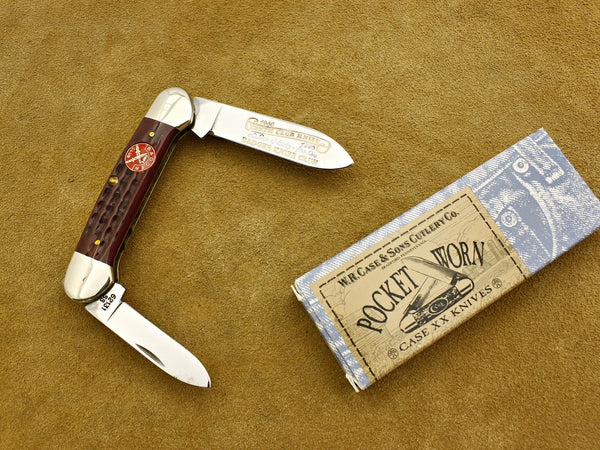 BKC 1996 Club Knife - Case PocketWorn Jigged Red Bone 2-Blade Canoe