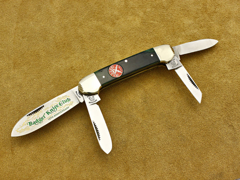 BKC 1999 Club Knife – Fight'N Rooster Green Bone 4-Blade Canoe Whittler