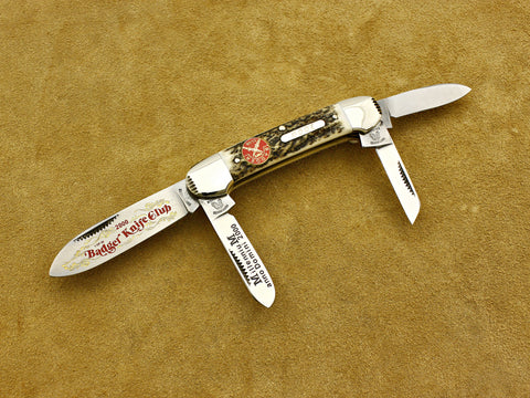 BKC 2000 Club Knife – Fight'N Rooster Stag 4-Blade Canoe Whittler