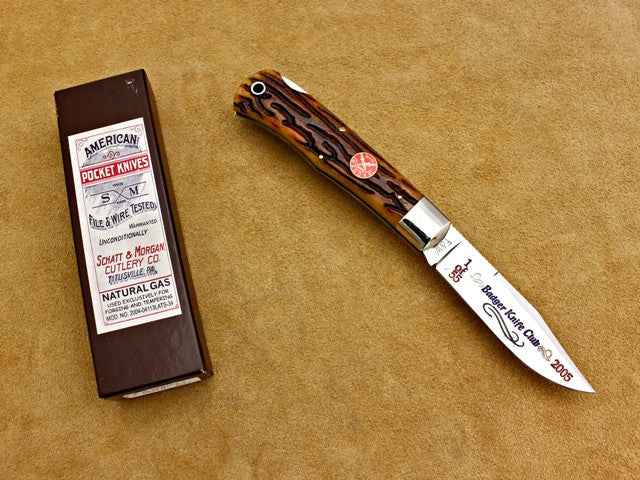 BKC 2005 Club Knife - Queen S&M Goldenroot Bone Mountain Man LockBack