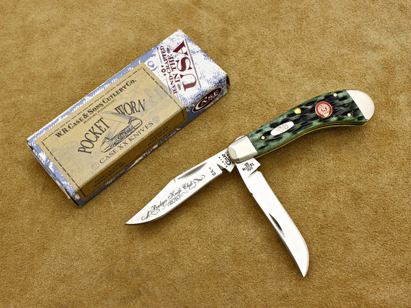 BKC 2010 Club Knife - Case Jigged Bone PocketWorn 2-Blade Saddlehorn