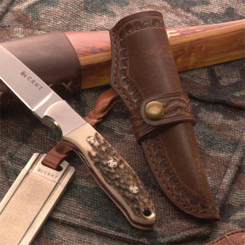 Brow Tine - Red Stag Drop Point Hunter w/Sheath - Fixed Blade