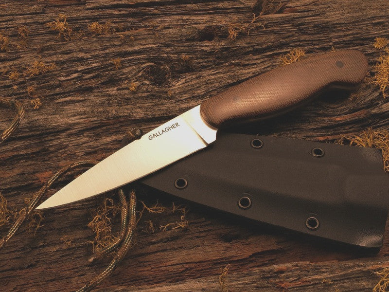 Gallagher, Barry - Micarta, Brown Drop Point Hunter w/Sheath - Fixed Blade