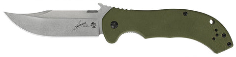 CQC-10K - G10/SS Bowie Survival - FrameLock Folder - Stonewash Plain Edge