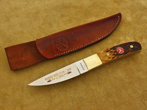BKC 1997 Club Knife - Hembrook, Ron - Jigged Amber Bone Hunter w/Sheath
