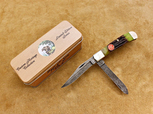 BKC 2006 Club Knife – Bear & Son Jigged Mossy Bone 2-Blade Trapper