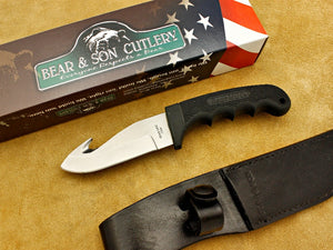 "Guthook - Kraton, Black (8 3/8"") Hunter w/Leather Sheath - Fixed Blade"