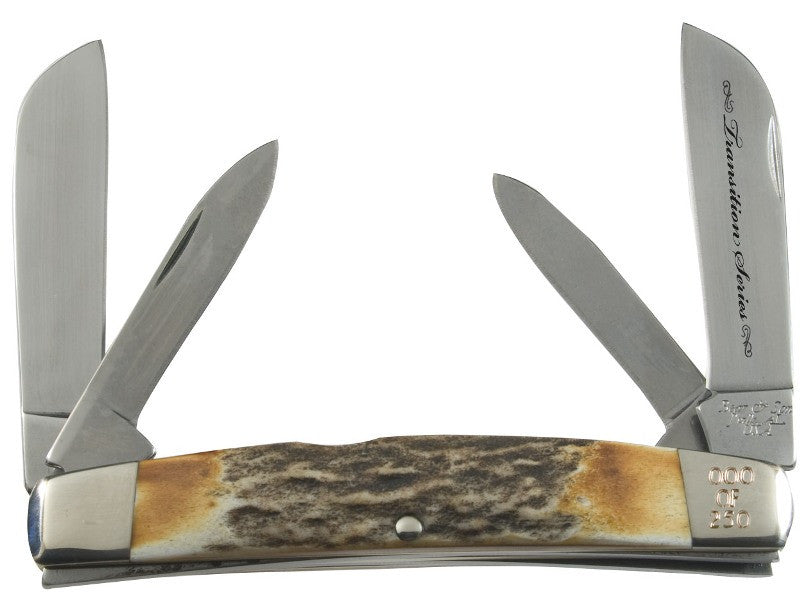 "Transition Series - Congress, 4-Blade - Stag Horn (4 1/8"") PocketKnife - SlipJoint Folder"