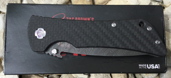 Bad Monkey Emerson - Carbon Fiber Damascus Drop Point - LinerLock Folder
