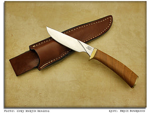 Bohrmann, Bruce - Cherry Burl Skinner Hunter w/Sheath - Fixed Blade
