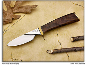 Bohrmann, Bruce - Walnut Burl Trapper Hunter w/Sheath - Fixed Blade