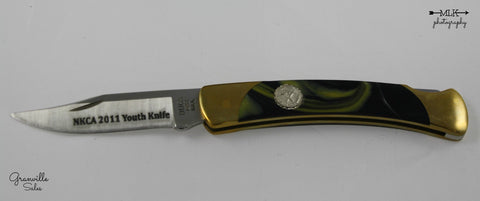 "Hunter, Folding - ""Mica Pearl"" Model 55 Lockback Pocketknife - NKCA Club Youth Knife 2011"