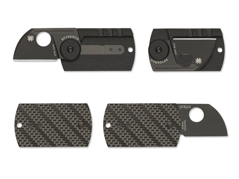 Dog Tag Folder - CF/G-10 Laminate Black - SlipJoint Folder - Blk Plain Edge