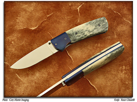 Chicarilli, Rocco - Giraffe Bone Folding Hunter - Linerlock Folder - P-Edge