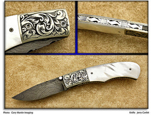 Corbit, Jerry - Pearl Model 5 - Linerlock Folder- Damascus P-Edge