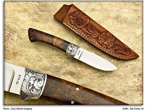 Cover, Ray - Engraved No. 2 Drop Point Hunter w/Sheath - Fixed Blade