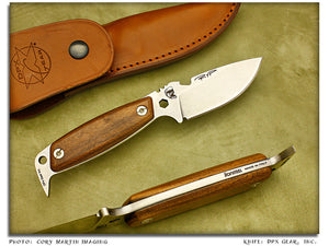 HEST Woodsman II - Hardwood Utility Knife w/Sheath - Fixed Blade