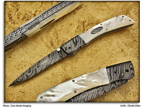 Dake, Charlie & Mary - Mother of Pearl D/A Auto - Lockback Folder - Damascus P-Edge