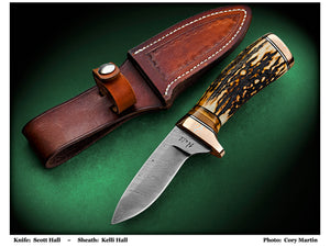 Hall, Scott - Stag Drop Point Hunter w/Sheath - Fixed Blade