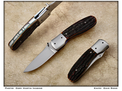 Ricke, Dave - Carved Bone Locking PocketKnife -LinerLock Folder