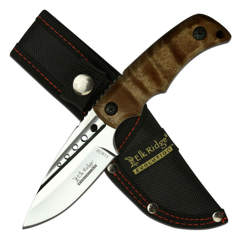 Elk Ridge Fixed - Maple Burl Drop Point Hunter w/Sheath - Fixed Blade
