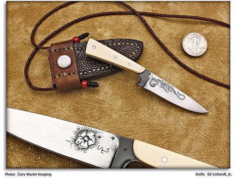Linhardt, Ed -  Mastodon Ivory Neck Knife - Fixed Blade