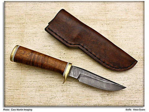 Evans, Vince - Redwood Burl Hunter w/Sheath - Fixed Blade