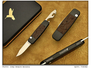 Piccolo - Aluminum w/Ostrich Inlays 2-Blade Auto - Pinless Dbl SideLock