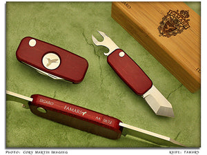 Sigaro - Red Aluminum 2-Blade Cigar/Golf Tool - Pinless Dbl Sidelock