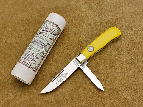 "Trapper, Jumbo - 2-Blade Yellow ""Mica Pearl"" Pocketknife - 2012 NKCA Club Knife"