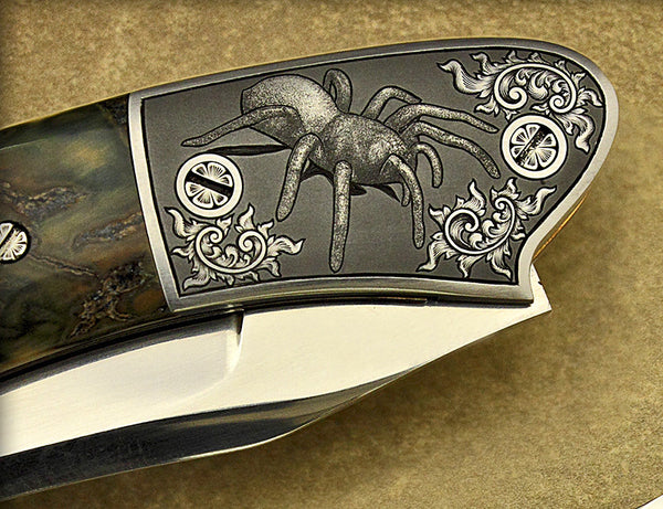 Gallagher, Barry - Funnel Spider Engraved Automatic - LinerLock Folder