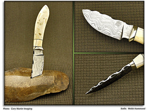 Hammond, Webb - Alaskan Coral Hunter - Fixed Blade - Damascus Plain Edge