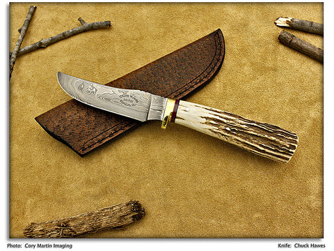 Hawes, Chuck - Stag Upswept Hunter - Fixed Blade