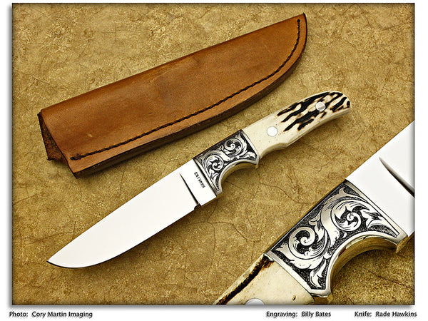 Hawkins, Rade - Stag Engraved Drop Point Hunter w/Sheath - Fixed Blade