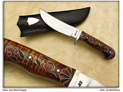 Hendrickson, Jay - Curly Maple Drop Point Hunter w/Sheath - Fixed Blade
