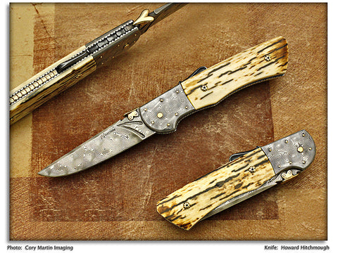 Hitchmough, Howard - Mammoth Ivory Damascus Drop Point - Lockback Folder