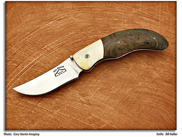 Keller, Bill - Cherry Burl Folding Hunter - Linerlock Folder