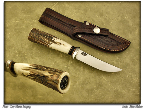 "Malosh, Mike - 4"" Scagel Style Hunting Knife – Stag Pommel w/Compass"