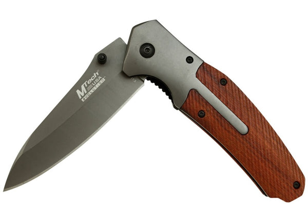 MTech Assisted - Wood w/SS Bolsters w/ThumbStuds - LinerLock Folder